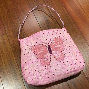 Ladies wicker pink bag